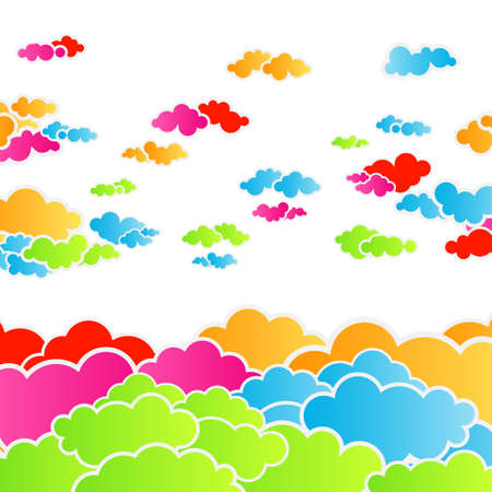 Vector illustration of a happy rainbow colorful cloudscape. illustration