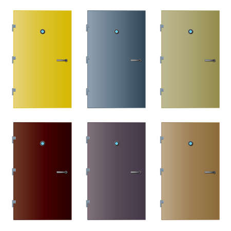 Vector illustrations of six colored doors with detailed hinges, peephole with reflection and handle. Stock Illustration - 3322576