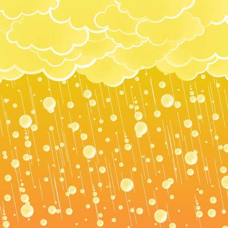 Vector illustration of a stylized summer showering weather with detailed rain drops and beautiful orange sky. illustration