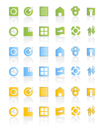 Vector illustration of a modern icon set collection in three different colors. Vector