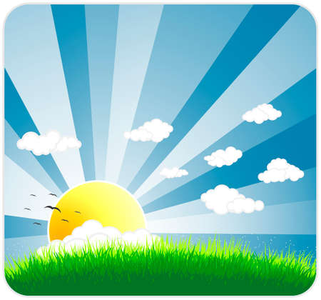 Vector illustration of an idyllic sunny nature background with a blue gradient stripes sky, birds, green grass layers of grass and  sky. Vector