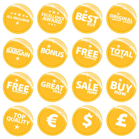 Vector illustration of a set of golden retail web icons, tags or stickers with various sale slogans. Stock Vector - 3351111
