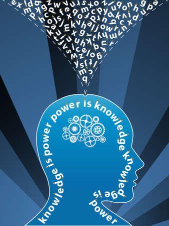 pensamiento creativo: Vector ilustraci�n de un pensamiento creativo cuenta con antecedentes letras del alfabeto procedentes de la cabeza y se desplazan dentro de gearwork. Conocimiento concepto.  Vectores