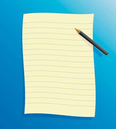 foglio a righe: Illustrazione vettoriale di una carta nera statuito su sfondo blu, con ombra e matita.  Vettoriali