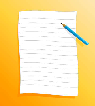 Vector illustration of a slick ruled paper on orange background with shadow and pencil. Vector