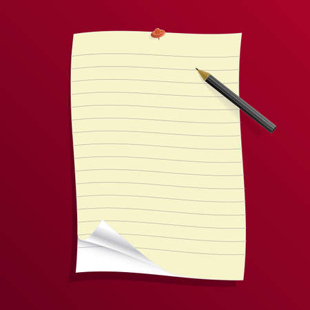 foglio a righe: Illustrazione vettoriale di una carta nera statuito su sfondo arancione con ombra, matita e penna.