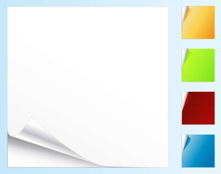 Vector illustration of peeled stickers or note papers in different colors.