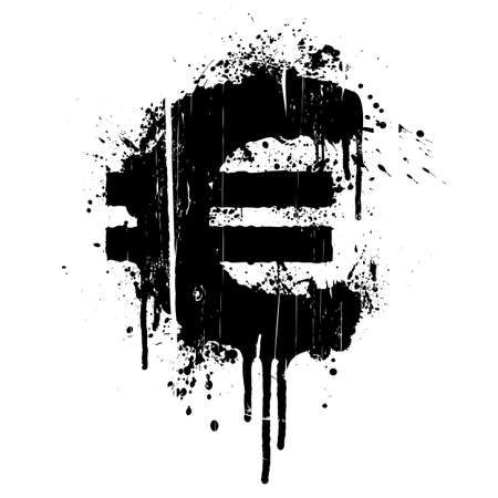 Vector illustration of a grunge aged splatter design element in the shape of the European Union currency, Euro. Vector