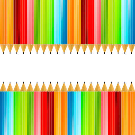 Vector illustration of a colorful background made of colored pencils. Vector