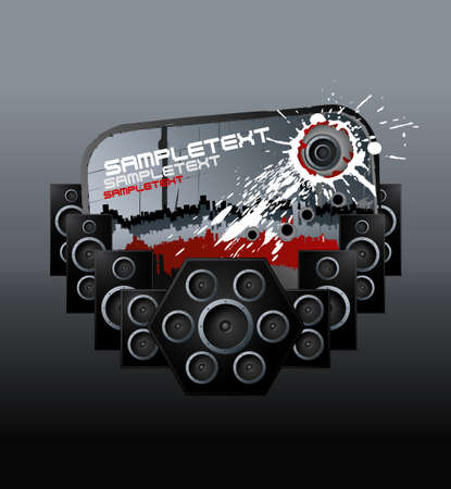 Vector illustration of a modern urban music design element with speakers boxes, ink splatter and aged label. Vector
