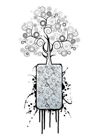 Vector illustration of a beautiful tree made of floral spirals growing from a gray container full of modern spirals outlined in grunge style and splatter ink drops. Vector