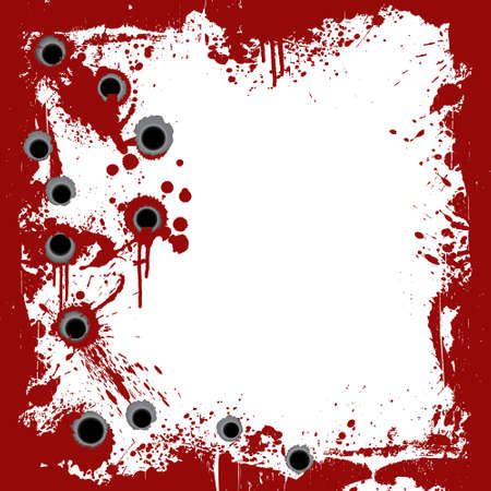 murder: Vector illustration of a bloody grunge frame with splatters and gunshot holes.