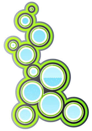 Vector illustration of a funky retro design element with circle art filled with water and bubbles. Stock Vector - 3351146