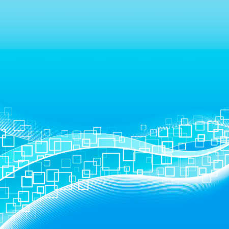 Vector illustration of a modern template background with flowing lined art and squares. Vector