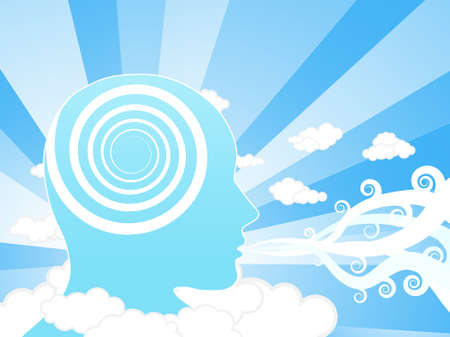 Vector illustration of a creative mind blowing winds in the sky. Education concept. Illustration