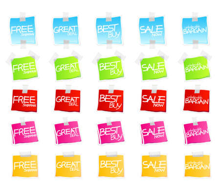 Vector illustration of sticky retail notes or tags with custom sale text. 25 elements in various colorful versions.