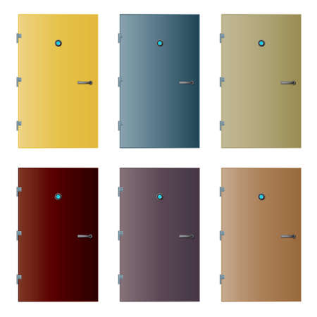 hinges: Vector illustrations of six colored doors with detailed hinges, peephole with reflection and handle.