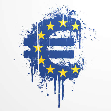 Vector illustration of a conceptual ink splatter in the shape of the European Union Euro currency symbol. Vector