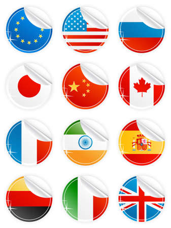 Vector illustration of 12 beautiful modern sticky peeling national icons. EU, USA, Russia, Japan, China, Canada, France, India, Spain, Germany, Italy and United Kingdom. Vector