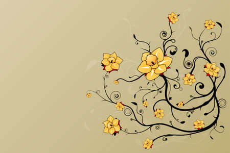 Vector illustration of a beautiful floral grunge background with stylized flowers and art spirals. Vector