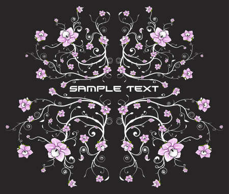 Vector illustration of a beautiful floral pattern background with vivid pink flowers. Vector