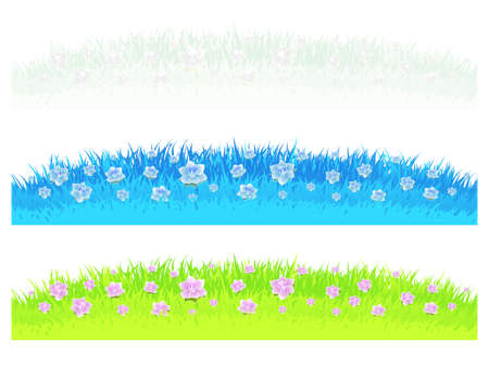 Vector illustrations of three differently colored grass and lawn design elements with beautiful flowers. Vector