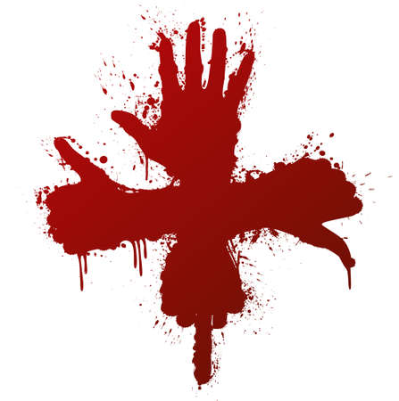 Vector illustration of a hand gestures conceptual ink splatter design element. Bloody red.