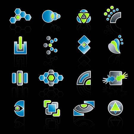 geschniegelt: Vektor-Abbildung 16 verschiedenen glatten modernes Unternehmen Logo-Designs. Illustration