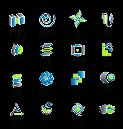 Vector illustration of 16 different slick modern company logo designs. Set 2. Vector
