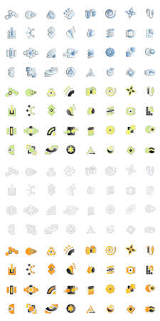 Vector illustration of 32 modern logo designs in four different color variations. 128 logos in all.