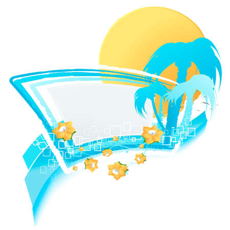 Vector illustration of a modern summer design element with blank banner, floral elements, sunset and silhouette palms and lined artwork. Detailed. Vector