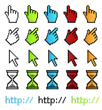 Vector illustration of different  pointer graphics in enlarged pixel proportions. With shadows on separate layers. Vector