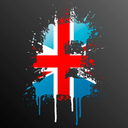 Vector illustration of a conceptual ink splatter in the shape of the United Kingdom Pound currency symbol. Illustration