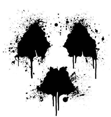 Vector illustration of a splatter ink design element in the shape of the radioactive symbol. Vector