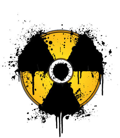 Vector illustration of a splatter ink design element in the shape of the radioactive symbol. On separate layers. Vector