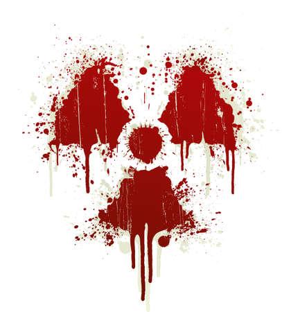 Ilustración vectorial de salpicaduras de sangre elemento de diseño en la forma del símbolo radiactivos. Sombras en capa separada.