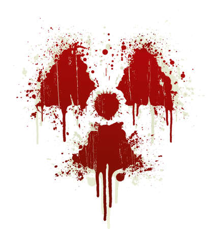 Vector illustration of a blood splatter design element in the shape of the radioactive symbol. Shadow on separate layer. Vector