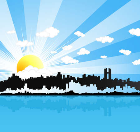 Vector illustration of a beautiful sunny happy urban landscape background with water reflection. Sun and clouds in the sky. Vector