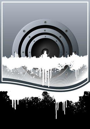 central: Vector illustratie van een muziek achtergrond met een centrale luidspreker, skyline van de stad, grunge splatter elementen en bekleed kunst. Stock Illustratie