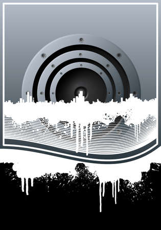 Vector illustration of a music background with a central speaker, city skyline, grunge splatter elements and lined art.