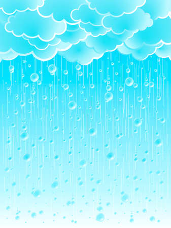 Vector illustration of a beautiful light summer shower rainy weather background.