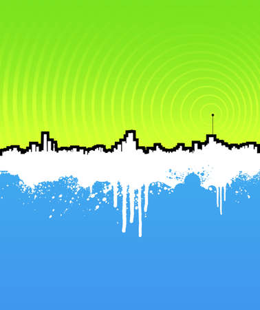 transmitting: Vector illustration of a grunge cityscape background with transmitter antenna. Frequency waves transmitting music. Detailed splatter. Illustration