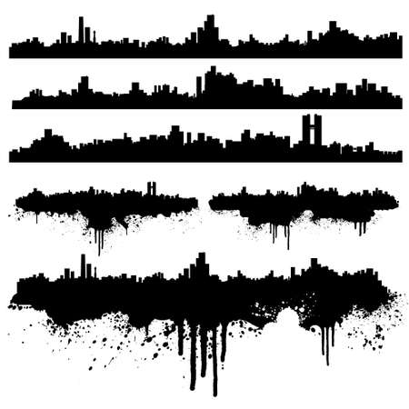 Vector illustration of six urban skylines, clean and splatter versions. Ink splashes highly detailed. Illustration