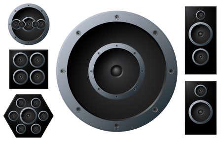 circundante: Vector illustration of various detailed gradient music speakers. Design elements.