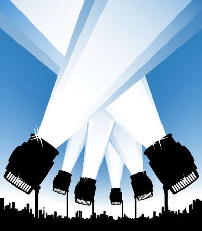 Vector illustration of an urban background with spotlights illuminating the sky. Show or event concept.