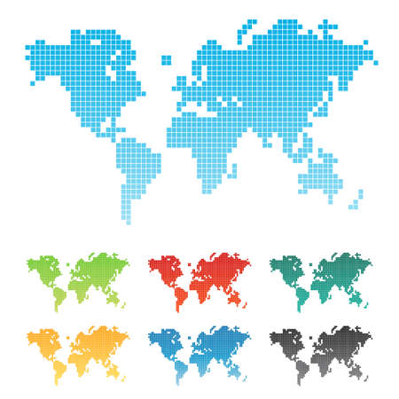Vector illustration of a world map made of squares pixels. Seven different color variations. Isolated. Vector
