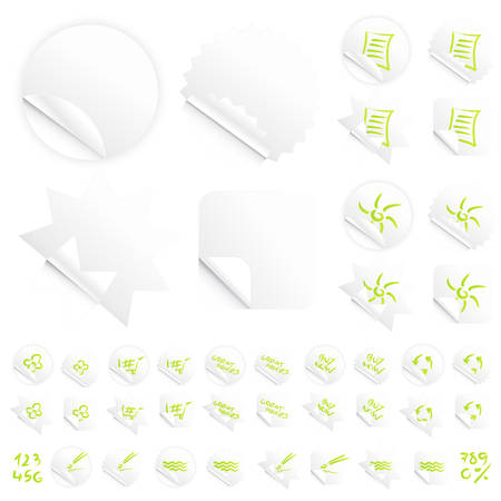 Vector illustrations of four different modern glossy shiny stickers or tags. Various custom themes. Red writing. Vector