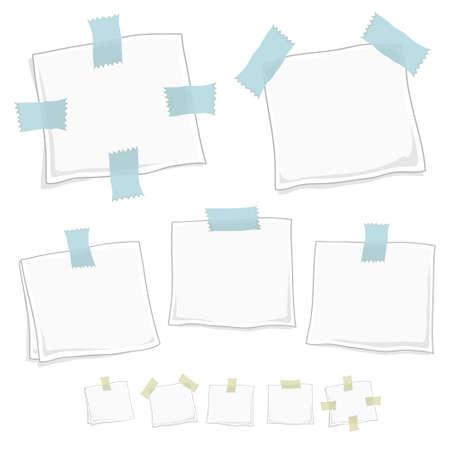 memory board: Vector de ilustraci�n estilizada nota puestos en cinco formas diferentes en dos versiones.