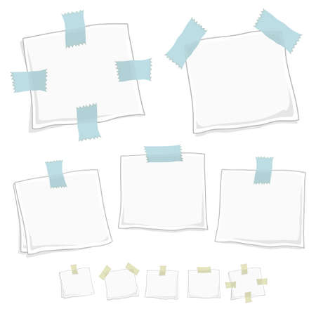 Vector illustration of stylized note posts in five different forms in two versions. Vector