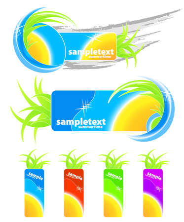 Vector illustration of two summer seasonal design elements, grunge and floral, and four retail happy summertime tags with sun. Vector